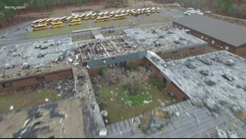 Cleanup underway after tornado batters South Carolina high school