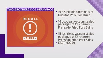 Kannapolis based Two Brothers Pork Skins products recalled
