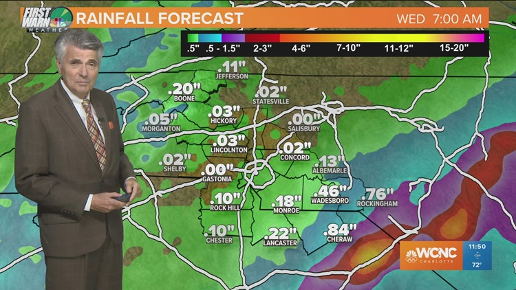 CHARLOTTE FORECAST: Rain to clear out by Tuesday night