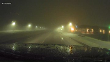 Wintry mix falls in parts of the Carolinas