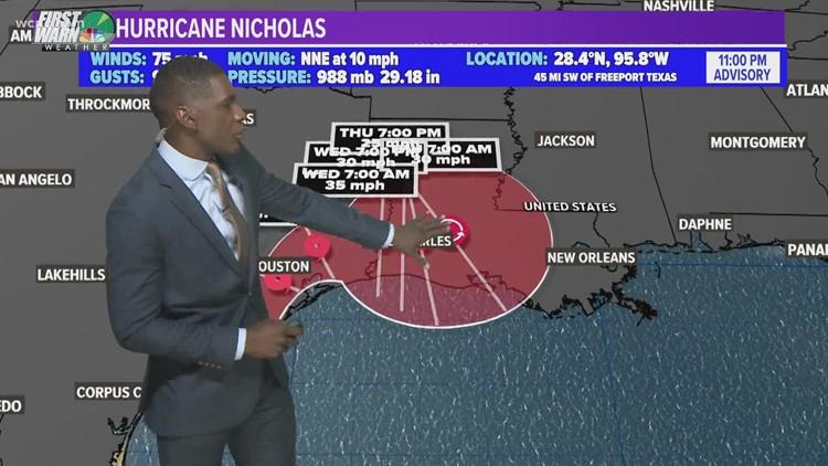 Tracking Hurricane Nicholas, likely to make landfall overnight
