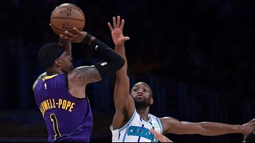 James, Caldwell-Pope shoot Lakers over Hornets 129-115