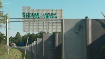Graffiti on I-485 sign turning heads; lanes may have to shut down for removal