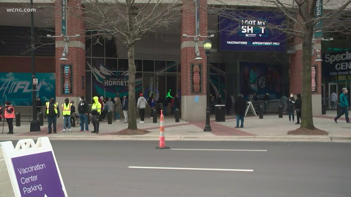 COVID-19 vaccine clinic at Spectrum Center in uptown Charlotte