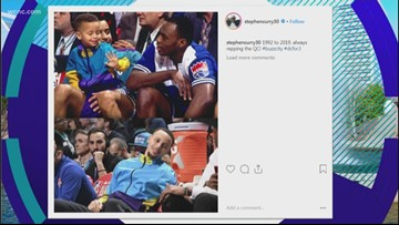 Charlotte native Steph Curry sports replica childhood jacket at All-Star weekend