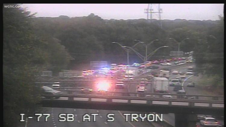 Crash shuts down part of I-77 Soutbound