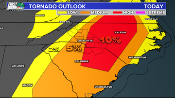 10 A.M. FRIDAY SEVERE WEATHER UPDATE: Tornado risk increases in Charlotte area