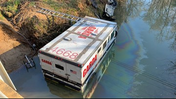 Armored van crashes into creek off I-485