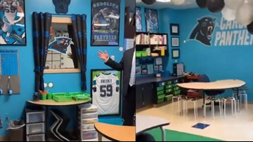 Charlotte teacher turns classroom into Carolina Panthers fan fest