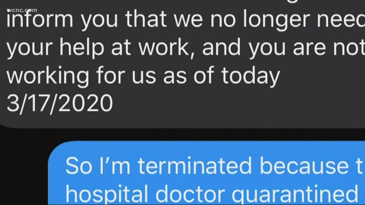 Charlotte woman believes she was fired because of being quarantined