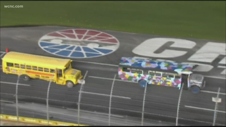 Media Mayhem school bus race highlights Summer Shootout at Charlotte Motor Speedway