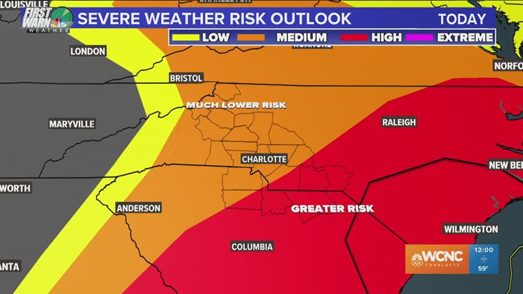 Charlotte at 'medium risk' for severe weather
