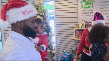 Panther's Fozzy Whittaker and the Humane Society deliver new pets in time for Christmas morning