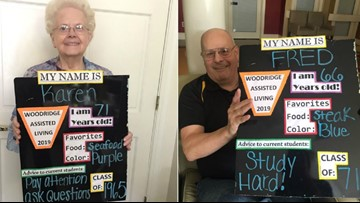 Monroe senior citizens create their own 'back to school' photos