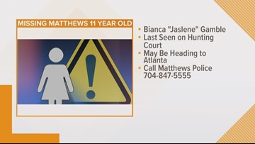 Matthews Police search for missing girl