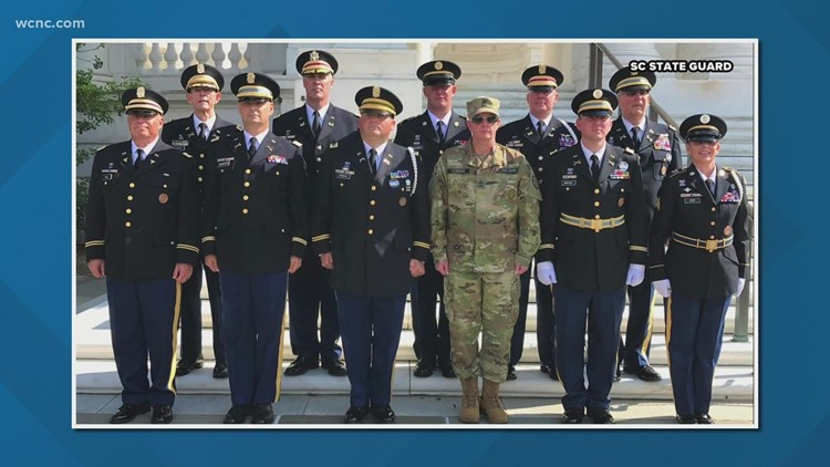 Members of SC State Guard attend ceremonial wreath-laying at Tomb of the Unknown Soldier