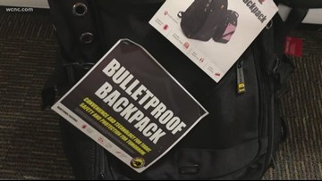 Bulletproof backpacks now on shelves in Charlotte, in time for back to school shopping
