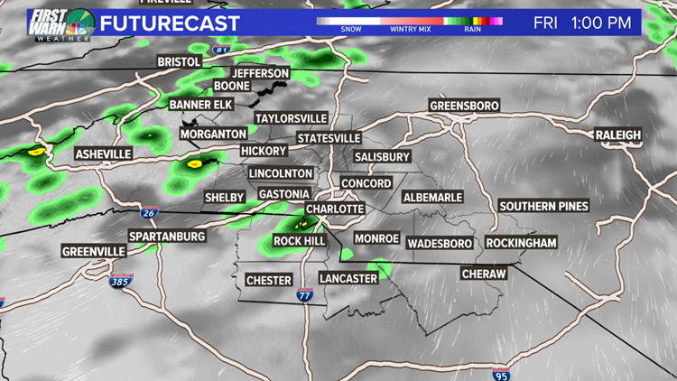 FORECAST: Scattered rain continues for the Carolinas, more sunshine Friday