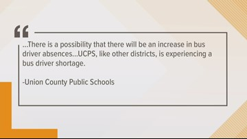 Union County school buses could be delayed Friday