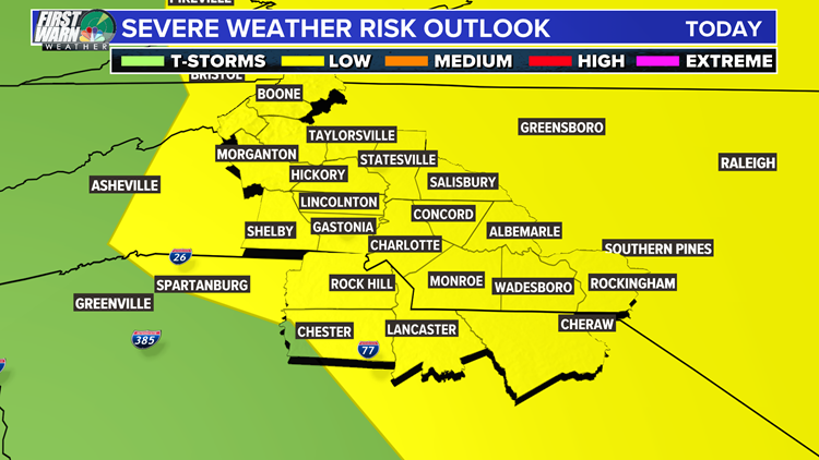 Severe storms possible across the Carolinas Wednesday