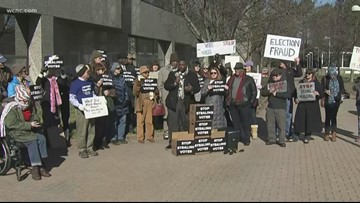 Group rallies in front of NC board of elections over 9th District drama