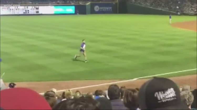Fan runs onto field during Charlotte Knights game