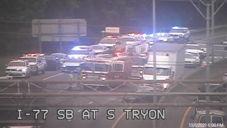 Interstate 77 southbound reopened after crash south of Uptown Charlotte