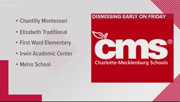 CMS dismissing several schools early Friday due to road closures, traffic