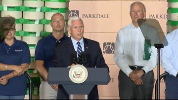 VP Pence tours yarn manufacturing plant in Monroe
