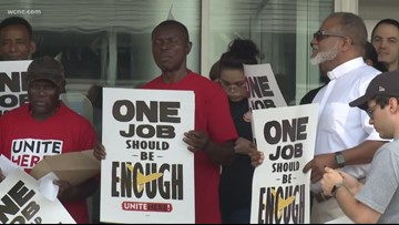 'Enough is enough' | Airline food workers picket outside Charlotte airport for higher wages