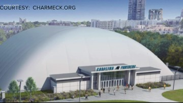 Dome inflated over Panthers practice field