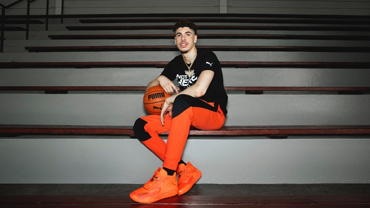 LaMelo Ball is launching his first shoe with PUMA, complete with a bright orange look and flame motifs