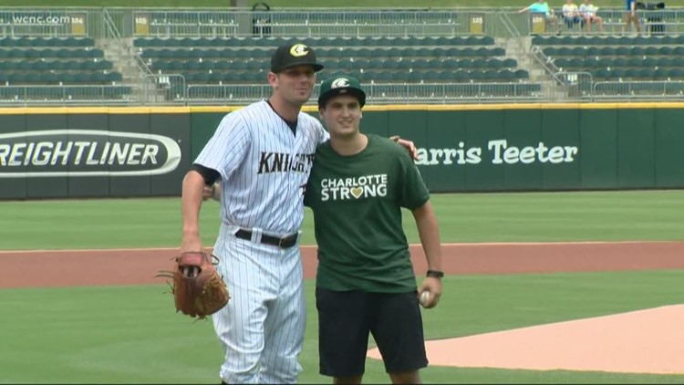 Drew Pescaro throws first pitch at Charlotte Knights game