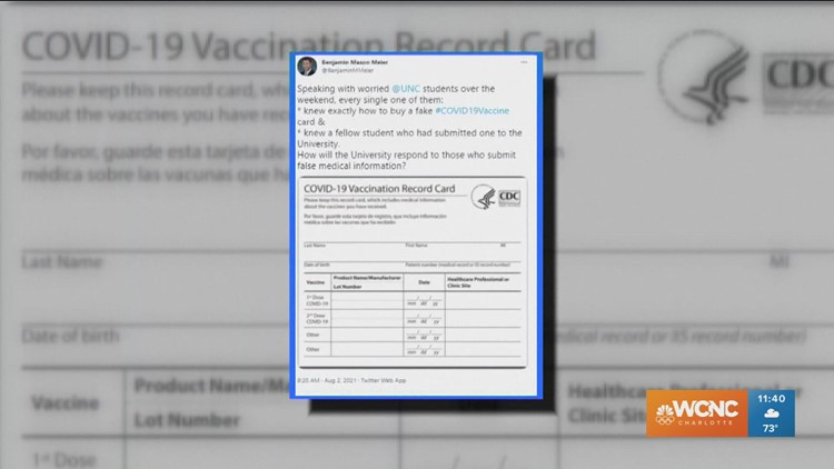 UNC students get fake COVID vaccine cards