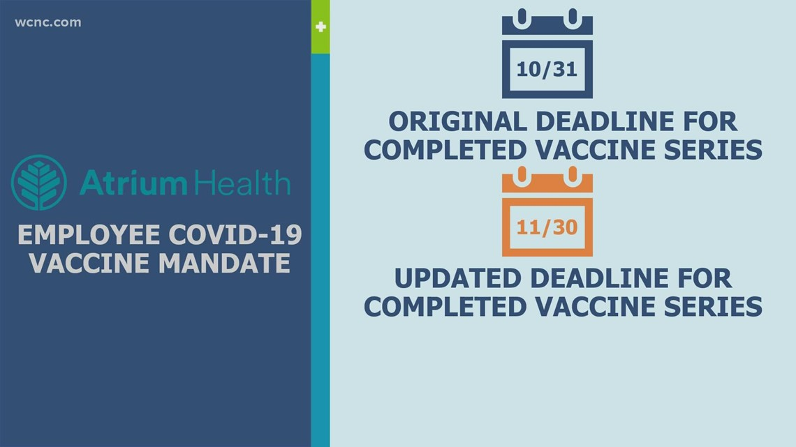 Atrium Health employee vaccine deadline pushed