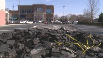 Asphalt torn up in apparent parking dispute in Ballantyne
