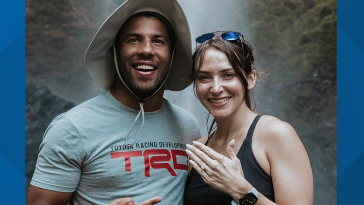 She said yes: Bubba Wallace is engaged after waterfall proposal