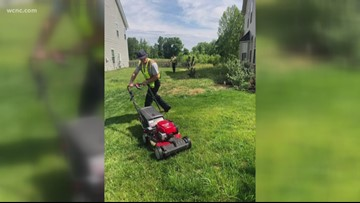 An elderly woman was struggling to mow her lawn. Concord firefighters stepped in to help.