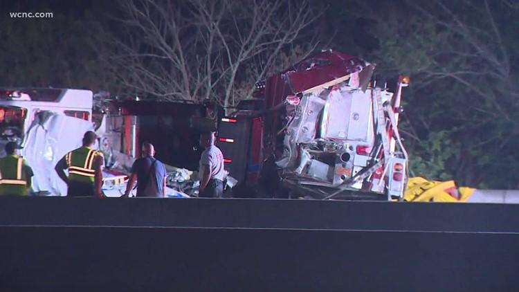 I-85 shutdown following major crash involving fire engines & tractor trailers