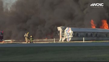 Overturned tanker bursts into flames: Raw video