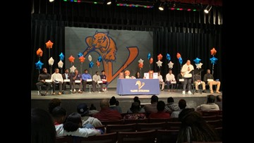 12 football players sign letters of intent at Vance on National Signing Day