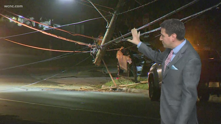 South Tryon Street closed after crash takes down power lines