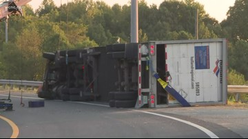 I-85 North at I-77 ramp closed due to overturned truck Sunday morning; ramp reopened