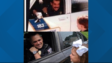 Police officer recreates first day of school picture with daughter
