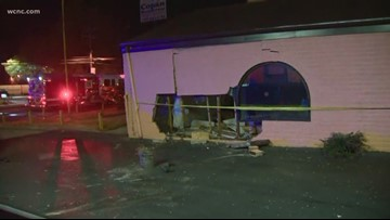 3 hurt when car crashes into restaurant in east Charlotte