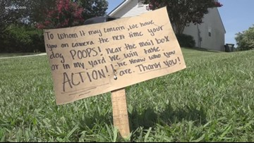 Man's sign in Monroe warns others to pick up pet waste