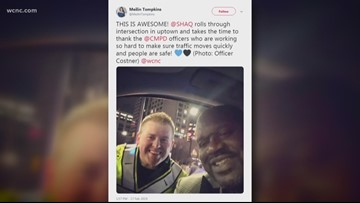 Shaq thanks CMPD officers for their hard work