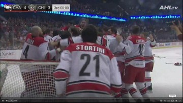 Charlotte Checkers celebrate Calder Cup win