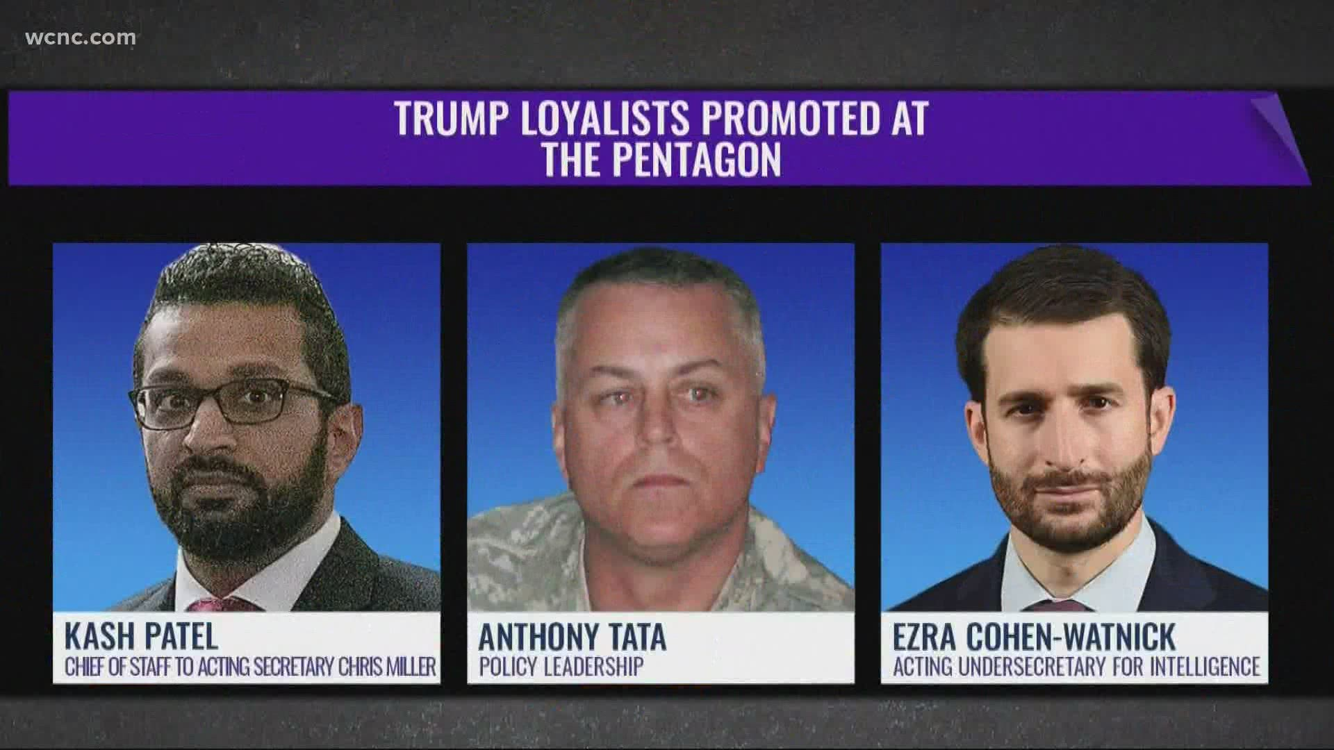 Military advisors concerned over national security after Trump hires loyalists at Pentagon | wcnc.com