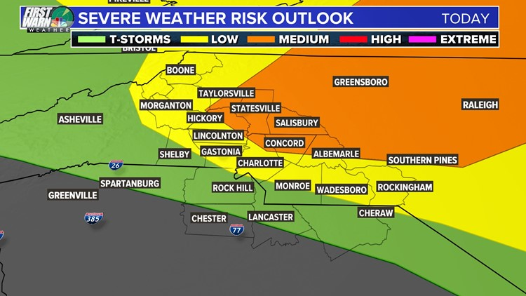 Severe threat has shifted further north; Charlotte still included